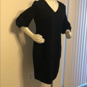 Black Cotton Mid sleeve dress
